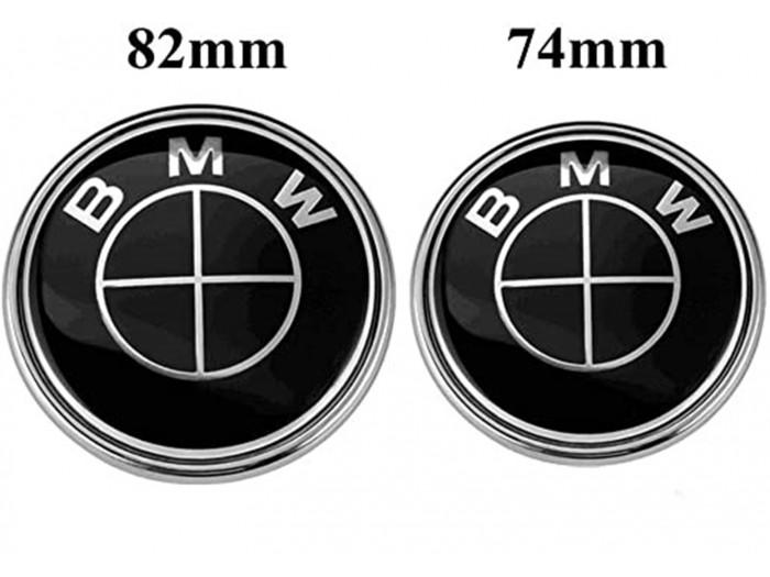Черна BMW Емблема за преден капак 82мм или 74мм за Багажник